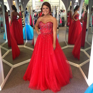 Plus Size Red Prom Dresses 2017 Sweetheart Beading Ball Gown Tulle