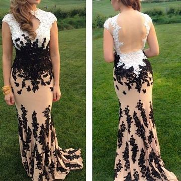 Appliques Queen Anne Sheer Back Prom Dresses 2017