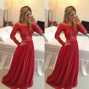 Red Beading Appliques Off-the-Shoulder Chiffon Prom Dresses 2017