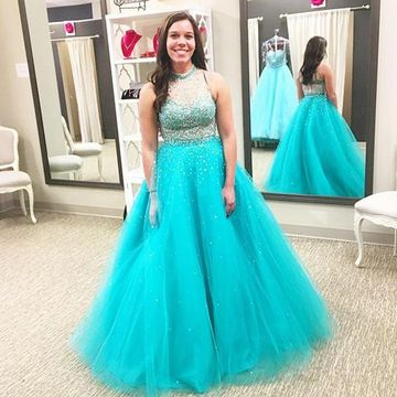 Plus Size Blue Beading High Neck Ball Gown Tulle Prom Dresses 2018