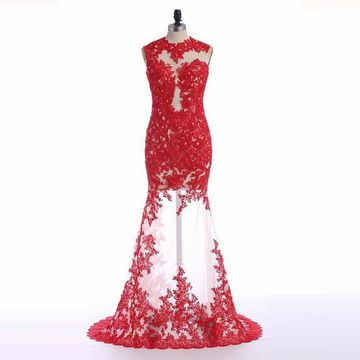 Red Cheap Prom Dresses 2017 Long Trumpet/Mermaid Appliques Tulle