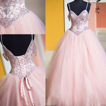 Crystal Lace Up Ball Gown Tulle Prom Dresses 2017