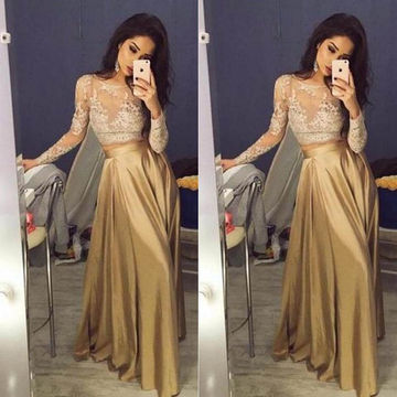 Illusion Lace Stretch Satin Two Pieces Prom Dresses 2018