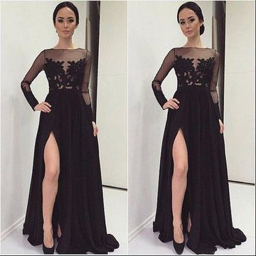Black Long A-Line Sweep/Brush Train Lace Prom Dresses 2018