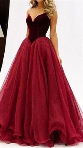 Red V-Neck Sleeveless Ball Gown Tulle Prom Dresses 2017