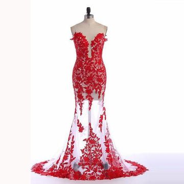 Red Long Lace Sweep Train Mermaid Tulle Prom Dresses 2017