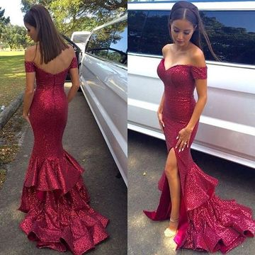 Long Trumpet/Mermaid Off-the-Shoulder Sequined Prom Dresses 2017