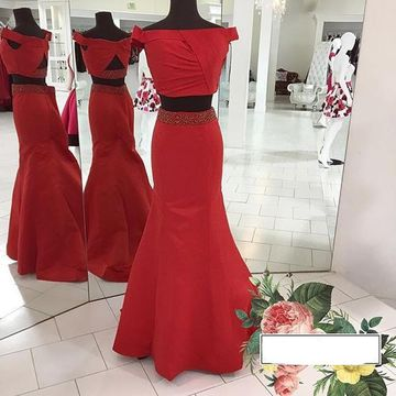Red Off-the-Shoulder Mermaid Satin Two Pieces Prom Dresses 2017