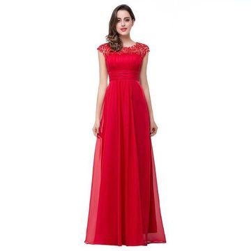 Red Prom Dresses 2017 Long A-Line Scoop Capped Sleeves Chiffon