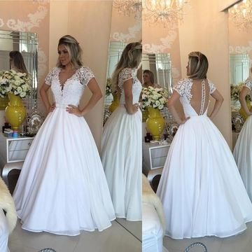 White Prom Dresses 2017 Long A-Line V-Neck Lace Spliced Chiffon