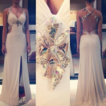 White Prom Dresses 2018 Split Front Beading Straps Backless