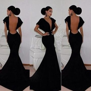 Black Prom Dresses 2018 Trumpet/Mermaid V-Neck Backless Taffeta