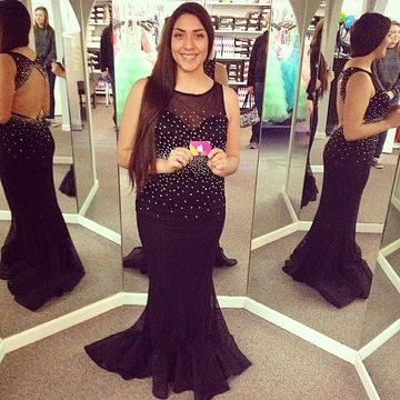 Plus Size Black Round Neck Backless Mermaid Chiffon Prom Dresses 2017
