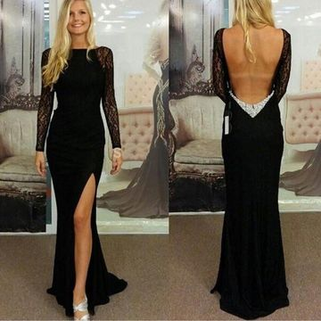 Black Sexy Split Front Backless Long Lace Prom Dresses 2018