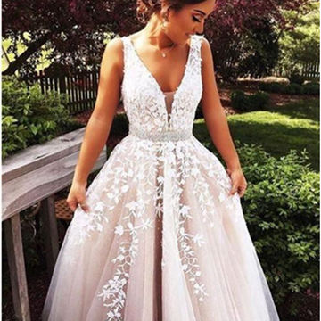 Beige A-Line V-Neck Sleeveless Floor-Length Tulle Prom Dresses 2018