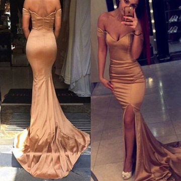 Sexy Trumpet/Mermaid Off-the-Shoulder Split Front Prom Dresses 2018