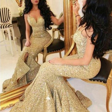 Sweetheart Mermaid Sequined Cheap Prom Dresses 2018