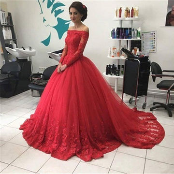 Red Long Sleeves Off-the-Shoulder Lace Natural Ball Gown Tulle Prom Dresses 2017