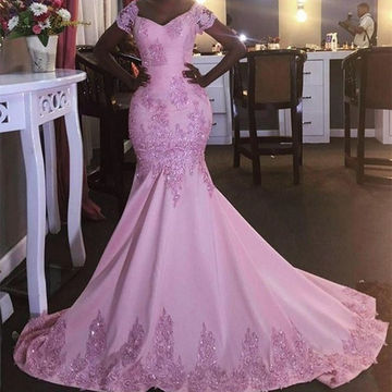 Beading Off-the-Shoulder Mermaid Stretch Satin Prom Dresses 2018