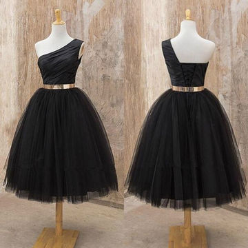 Black One Shoulder A-line Tulle Short Prom Dresses 2018