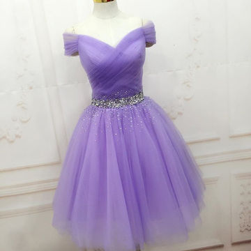 Purple Beading Ruching Off-the-Shoulder A-line Tulle Prom Dresses 2018
