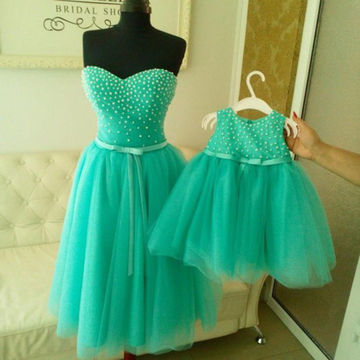 Mint Sweetheart Beading A-line Knee-length Tulle Prom Dresses 2018