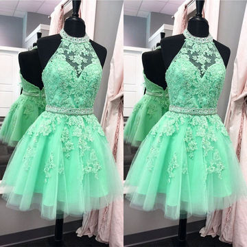 Beading Appliques A-line Tulle Short Prom Dresses 2018