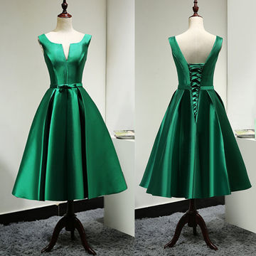 Dark Green Sleeveless Lace Up Knee-length Satin Prom Dresses 2018
