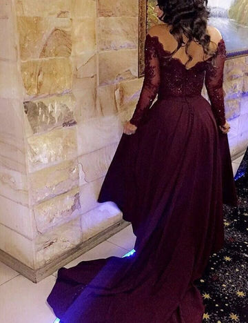 V-Neck Lace Spliced Two Pieces Prom Dresses 2017