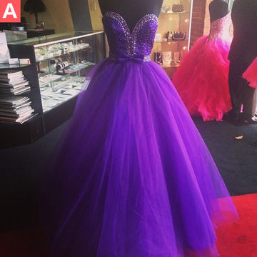 Purple Sweetheart Beading Ball Gown Tulle Prom Dresses 2018