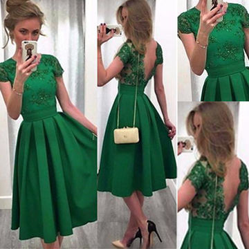 Green Short Sleeves Backless Knee-length A-line Prom Dresses 2018