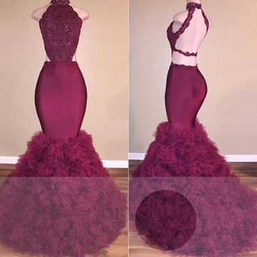 Burgundy High Neck Backless Mermaid Tulle Prom Dresses 2018