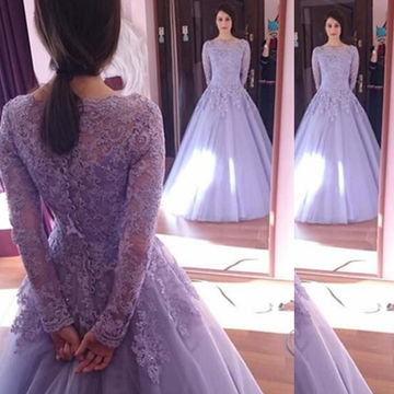 Lavender Appliques Ball Gown Tulle Prom Dresses 2018