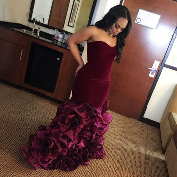 Burgundy Sleeveless Ruffles Trumpet/Mermaid Prom Dresses 2018