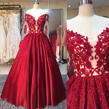 Red Appliques Off-the-Shoulder A-line Satin Prom Dresses 2018