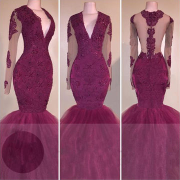 Beading Appliques Sheer Sleeves Mermaid Tulle Prom Dresses 2017