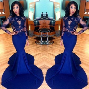 Long Sleeves Lace Zipper Mermaid Prom Dresses 2017