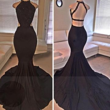 Black Beading Mermaid Satin Prom Dresses 2018