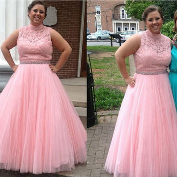 Pink Plus Size Junior Empire Waist Lace Tulle Ball Gown Formal Dresses 2017