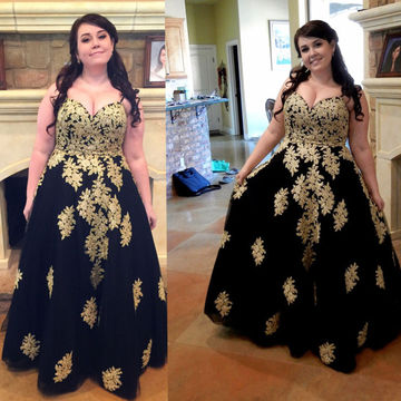 Black and Gold Sexy Plus Size Sweetheart Empire Waist Tulle Formal Dresses 2018