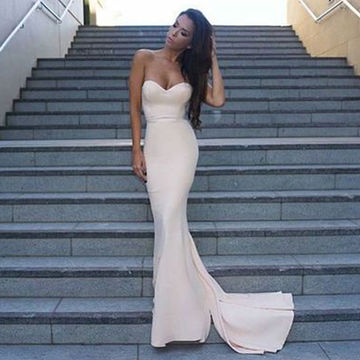 Evening/Pageant/Formal/Prom Dresses 2018 White Sexy Sweetheart Stretch Satin