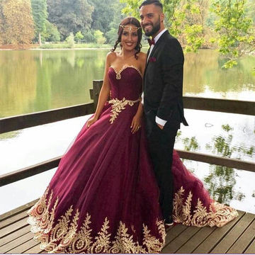 Burgundy Sweetheart Ball Gown Quinceañera Tulle/Sweet 16/Formal/Prom Dresses 2017