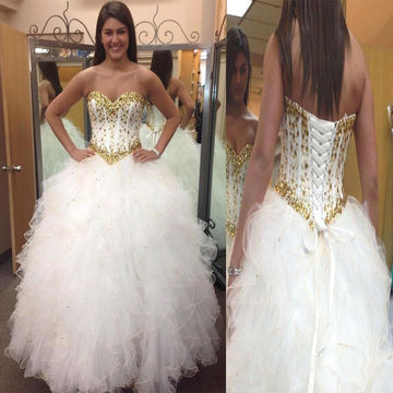 White Sweetheart Crystal Ball Gown Quinceañera Tulle/Formal/Prom Dresses 2018