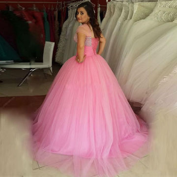 Pink Cute Sweetheart Ball Gown Quinceañera Tulle/Sweet 16/Prom Dresses 2017