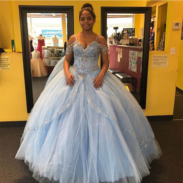Cute Off-the-Shoulder Crystal Ball Gown Quinceañera Tulle/Sweet 16/Prom Dresses 2017