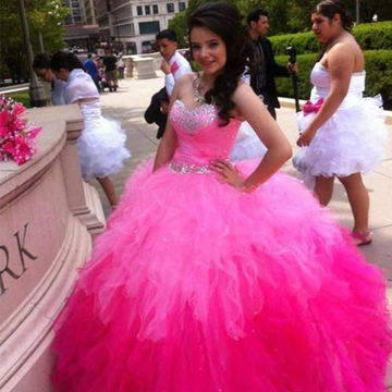 Pink Cute Sweetheart Ruffles Ball Gown Quinceañera Tulle/Sweet 16/Formal/Prom Dresses 2017