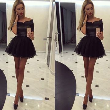 Black Empire Waist Satin Cocktail/Homecoming/Party Tulle Dresses 2017