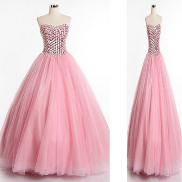 Pink Cute Sweetheart Crystal Ball Gown Quinceañera Tulle/Sweet 16/Formal/Prom Dresses 2017