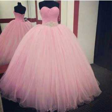 Pink Modest Ruching Ball Gown Quinceañera Tulle/Sweet 16/Formal/Prom Dresses 2017