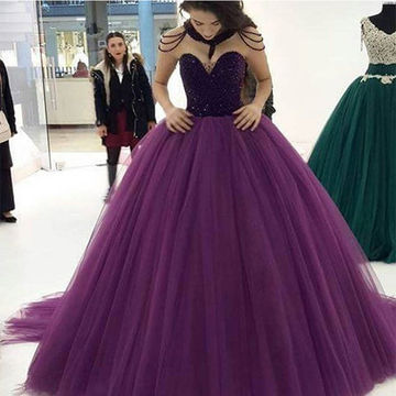 Purple Modest Sweetheart Ball Gown Quinceañera Tulle/Sweet 16/Formal/Prom Dresses 2017